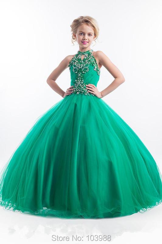▻Cheap 2016 Little Girls Pageant Dresses High Neck Green Long Beads ...