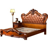 European style Double Bed wood carved wood bedroom ...