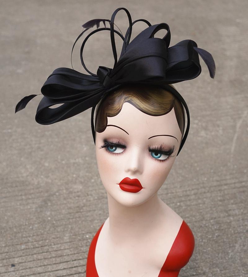 377a98c3fe4f9 Fascinay Fascinator sombreros mujeres pluma negro Kentucky Derby carrera  cóctel boda Iglesia damas Headwear diadema T233 Tan elegante y Sinamay  fieltro ...