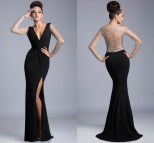 Elegant Long Sleeve Black Dresses