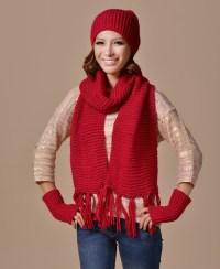 2015 Fashion Knitted Beanie Hat Scarf Gloves Set Women ...
