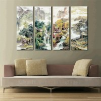 Large 4 piece canvas art cheap Modern wall panel decor 4