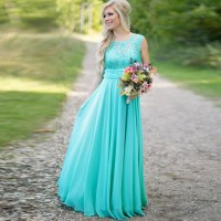 Sexy Cheap Lace Chiffon Teal Bridesmaid Dresses 2016 Long ...