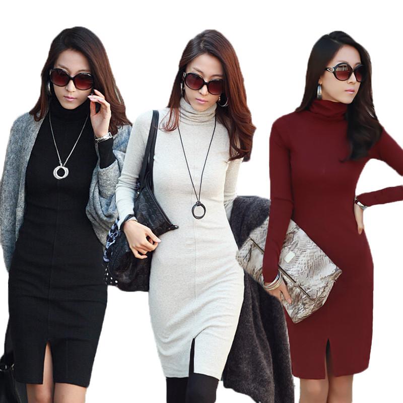 Las nuevas Mujeres Coreanas Vestido de Cuello de Tortuga Manga Larga ...