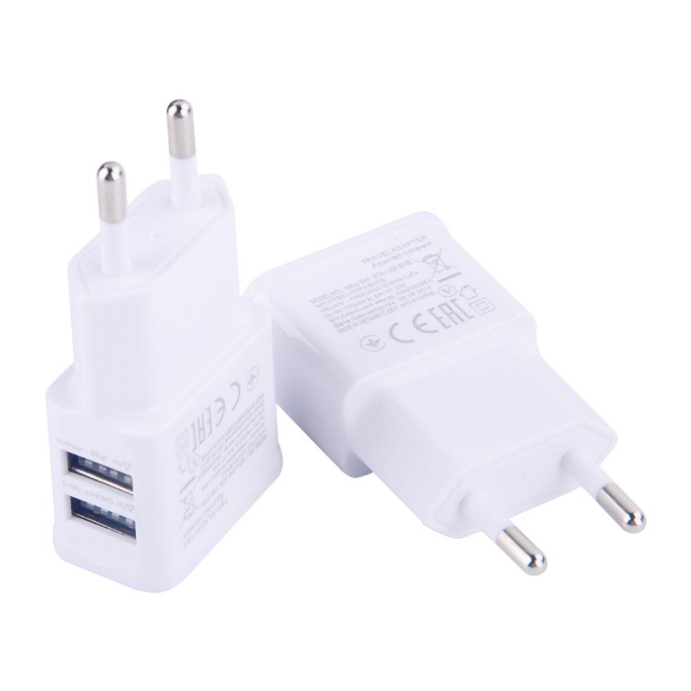כפול האיחוד האירופי 5V 2A תקע USB מטען קיר מתאם טלפון עבור iPhone 4 5 6 עבור Samsung Galaxy S3 S4 הערה 3 הערה 4 N9000