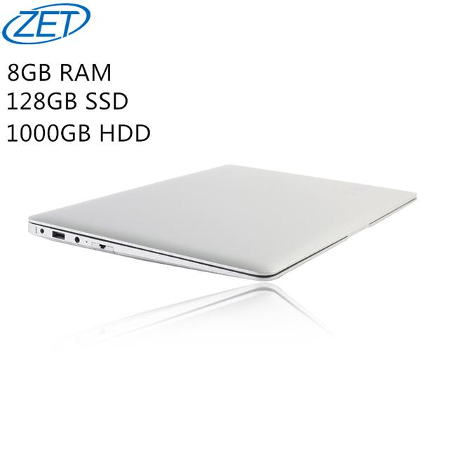 8 ГБ Ram + 128 ГБ SSD + 1000 ГБ HDD Ультратонкий Quad Core J1900 Быстрого Бега Windows10 система Ноутбука Ноутбук, бесплатная доставка