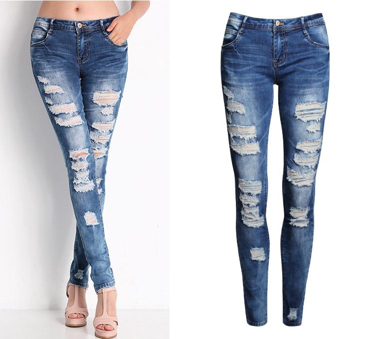 5538a615f9 2016 Womens distressed ripped knee skinny Vaqueros moda calientes bordes  crudos agujero pantalones de mezclilla para feminino