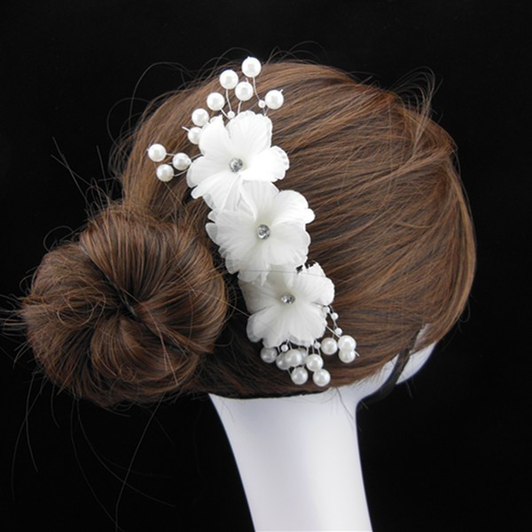 6 Pcs White Silk Flower Bridal Tiara Rhinestones Crystal Headband