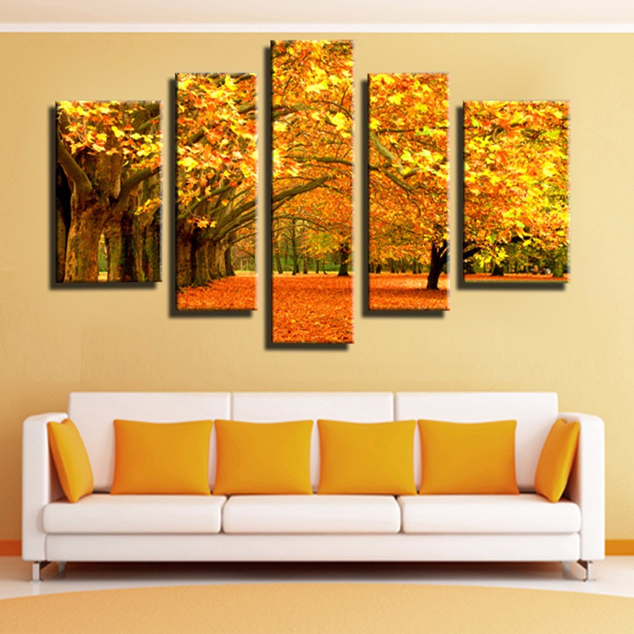 ⊰5 Panel Autumn Gold leaves Modular pictures Canvas Painting Wall ...