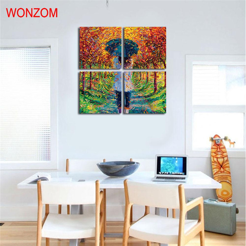 ̿̿̿(•̪ )Enmarcado 4 unids paraguas chica pinturas hojas caídas ...