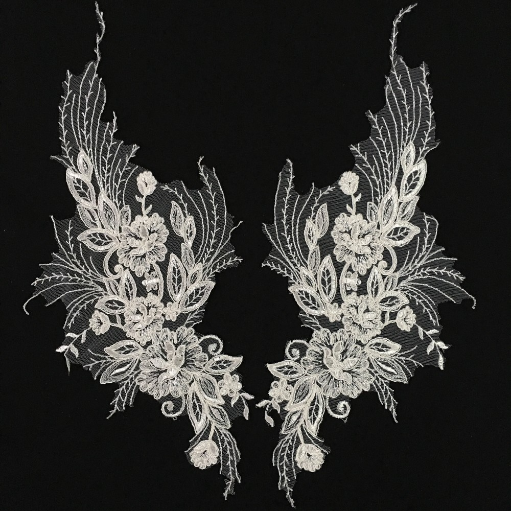 3817cm Big Size In Pair Flower Applique Ivory Feather Embroidered