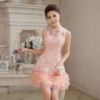 Short Pink Lace Prom Dress