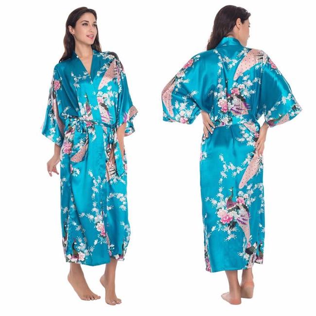 ᑐBleu Chinois Femmes Longue Soie Rayonne Robe Kimono Yukata Bain ... eb69daf114e