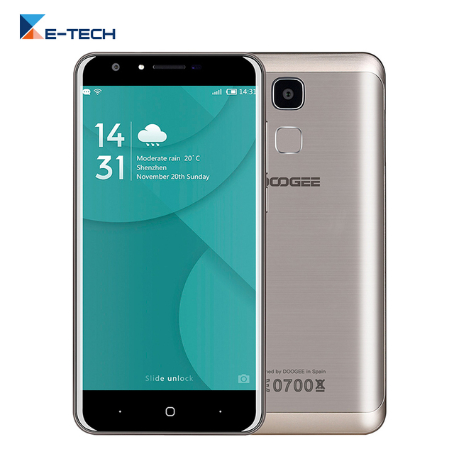 Original Doogee Y6C MT6737 Quad Core Smartphone 5.5 inch Android 6.0 2GB RAM 16GB ROM 8MP Fingerprint ID 4G LTE Mobile Phone