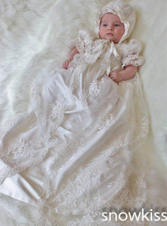 Two pieces lace Appliques Baby Girl White/Ivory short sleeve Newborn ...