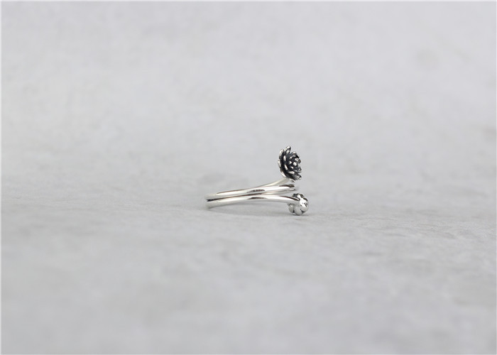 Flyleaf 925 Sterling Silver Vintage Winding Shape Lotus Flower Open Rings For Women Chinese Style Lady Sterling-silver-jewelry