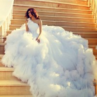 Robe De Mariage Ball Gown Tulle Fluffy White Long Train