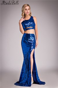 Sparkly two piece royal blue prom dresses 2016 sleeveless ...