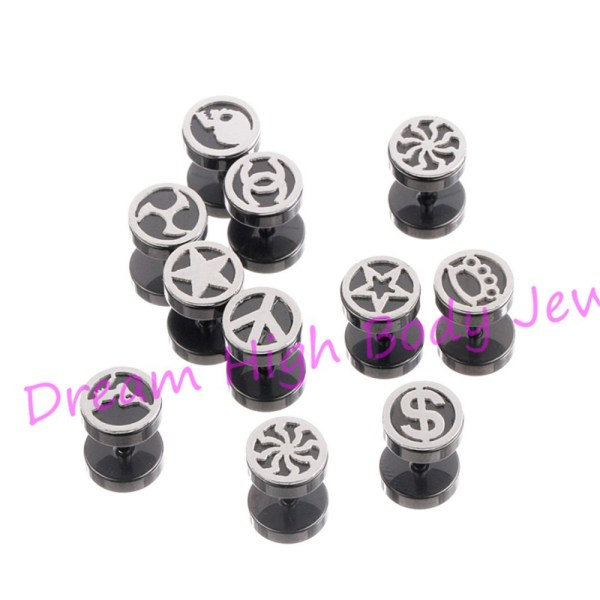 Brand Barbell Earring 8mm Black Ear Stud Fake