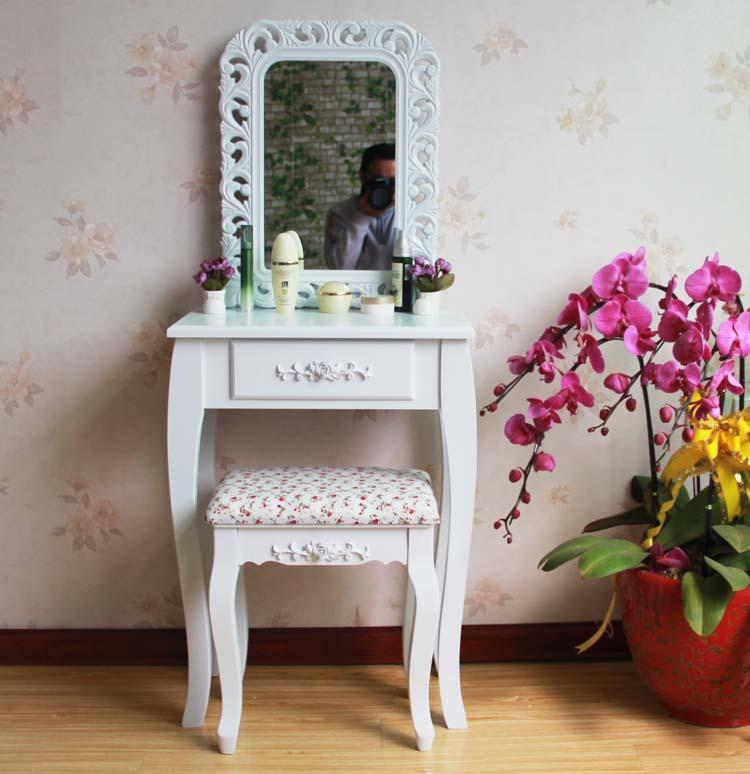 Queen Anne White Make Up Table Dresser Vanity Set Swivel