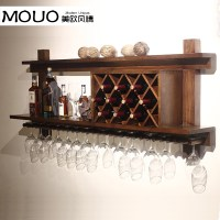 Wall mounted wood wine rack wine rack wine cooler European ...