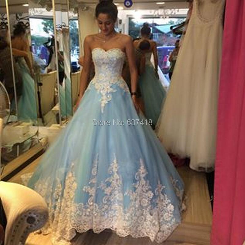 Aliexpress.com : Buy 2015 Light Blue Long Puffy Prom Dress