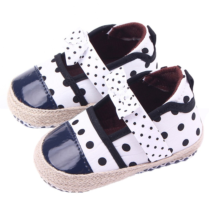 Baby Shoes Obedient New Sweet Newborn Baby Girls Princess Polka Dot Big Bow Infant Toddler Ballet Dress Soft Soled Anti-slip Shoes Footwear M2