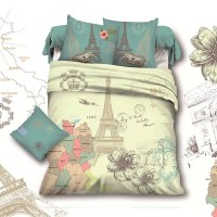 France Retro Style Paris Eiffel Tower Queen Size Bedding ...