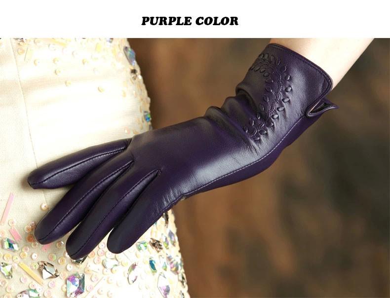 Women/'s 360 ° Smart écran Tactile Half Palm Gants en Cuir véritable Sans Doublure Noir