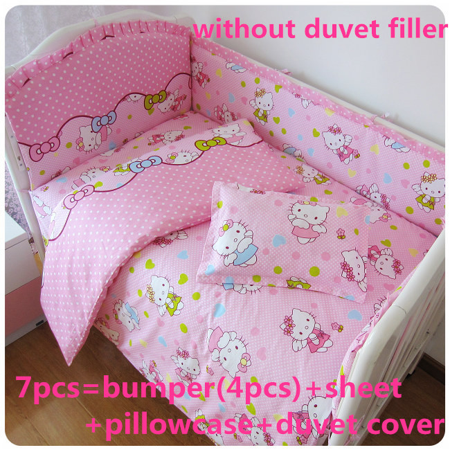 Promotion! 6/7PCS Hello Kitty baby crib bedding set cot