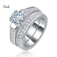 White Gold Plated Jewelry wedding Ring Sets for women ...