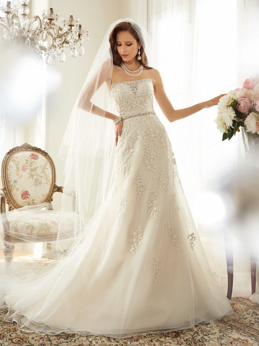 High Fashion Civil Wedding Dresses 2015 Strapless Lace