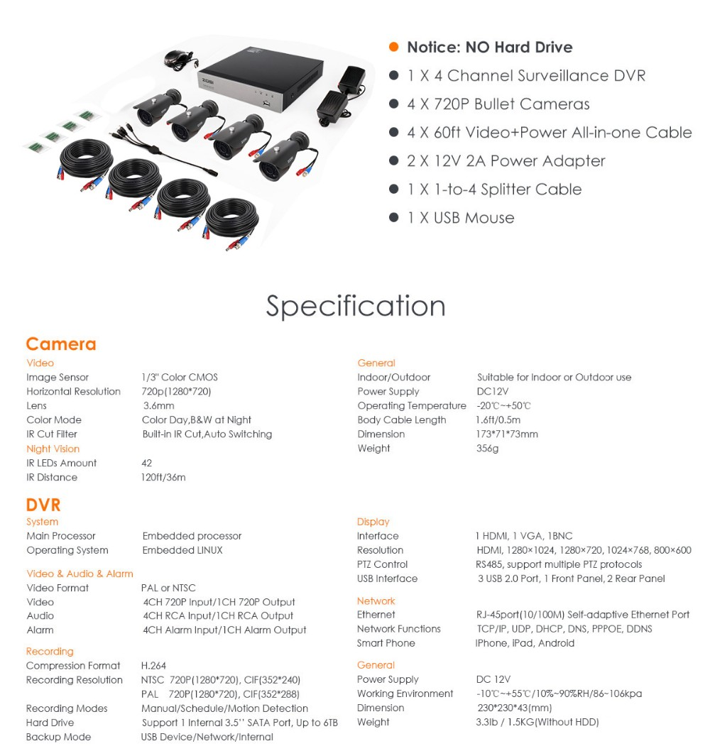 Zosi 4ch Cctv System 720p Hdmi Ahd Dvr 4pcs 10 Mp Ir The Fu29 Pushpull Circuit Amplifiercircuit Diagram Terms Conditions Shipping 1 Orders Processed Within 3 Working Days Of Payment Verification 2 Items Which Below 2kg Are Shipped By China Post Airmail
