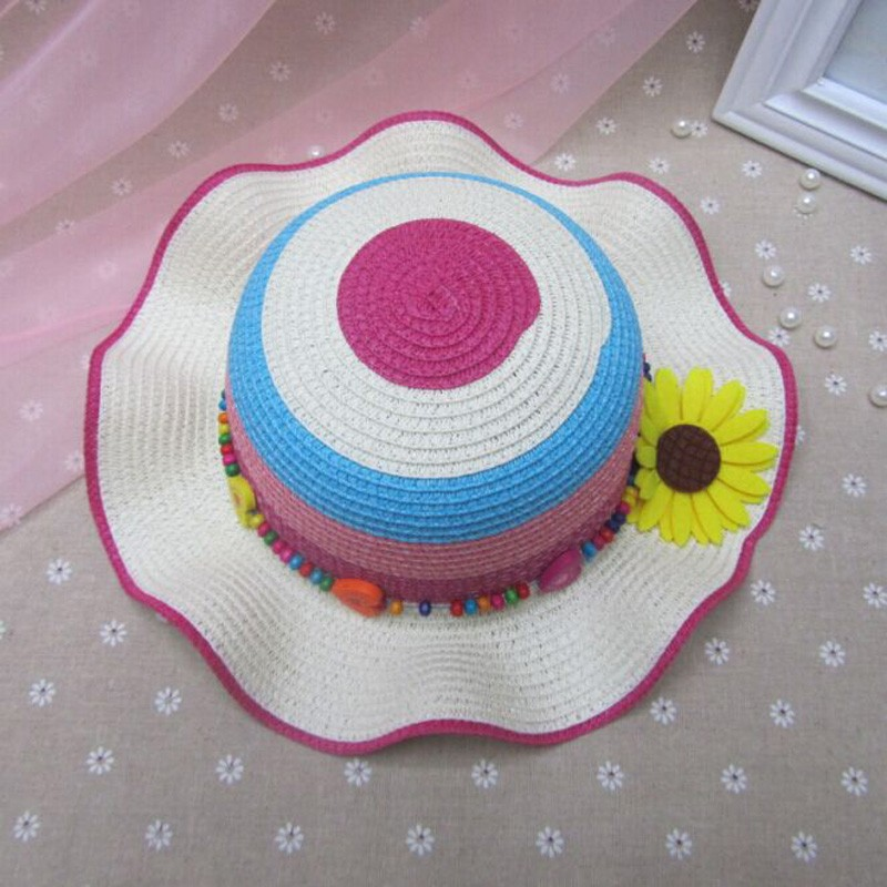 Fashion Colorful color matching Sun Hats For Children Summer Girl ... 4ee8f953ecfd