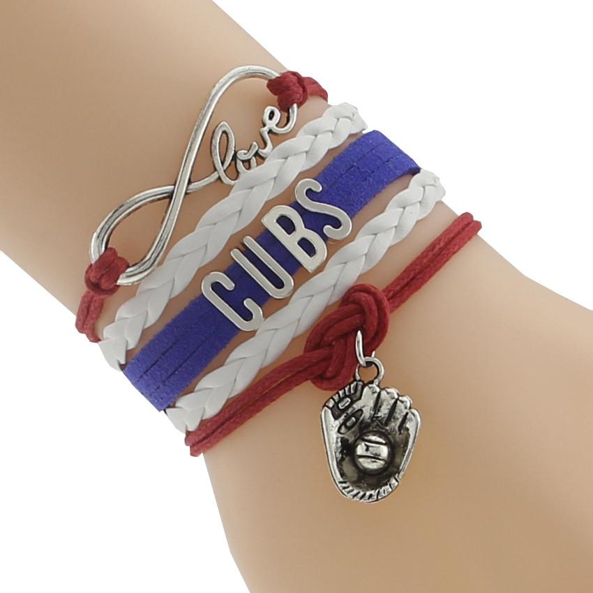 ᗖUnendlichkeit Liebe CUBS baseball Sport college Team Armband blau ...