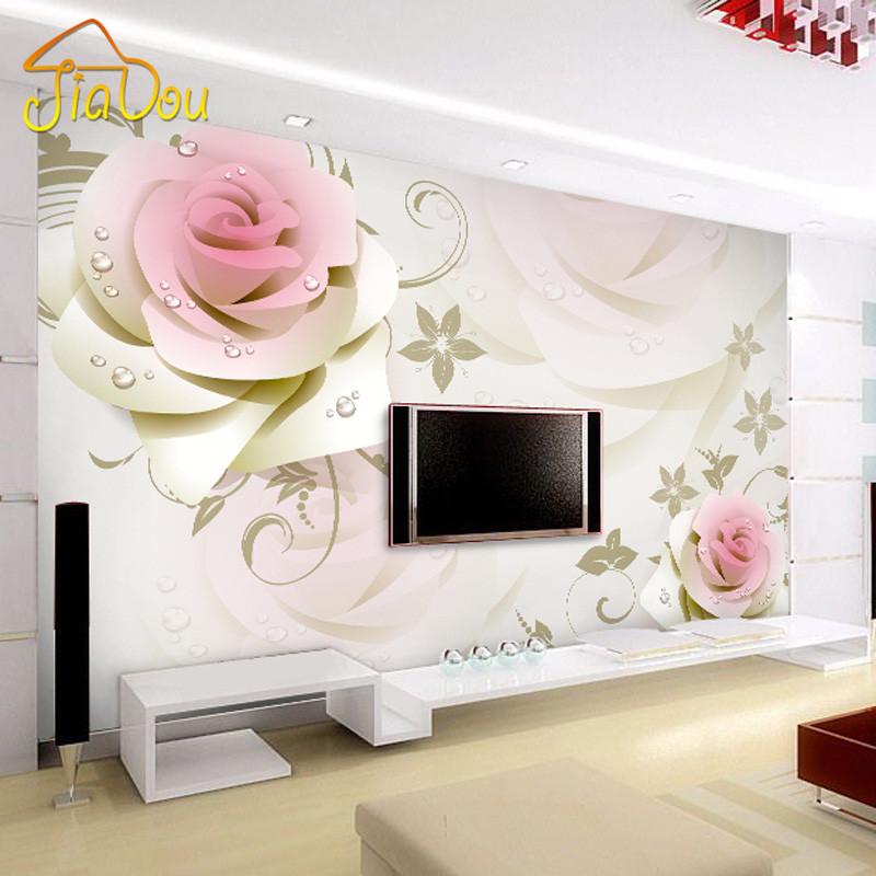 Online kopen Wholesale roze roze bloem behang uit China