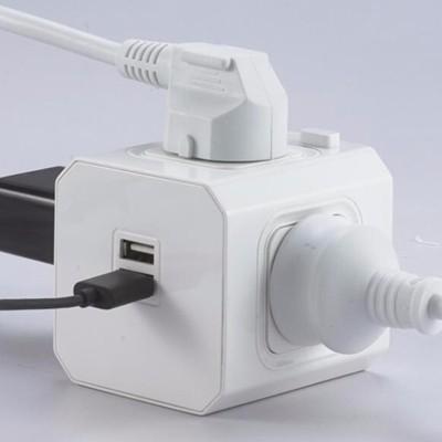 2 Way Gang Rallonge Multi Prise secteur prise Adaptateur Avec 2x Charge USB Port