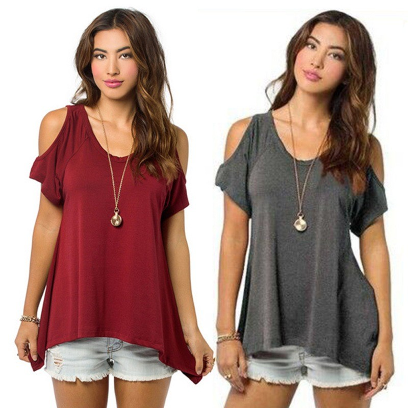 9884f9c112c4 Sexy Ladies Off Shoulder Casual Loose Tops Soft Cotton Blouse S-XXL ...