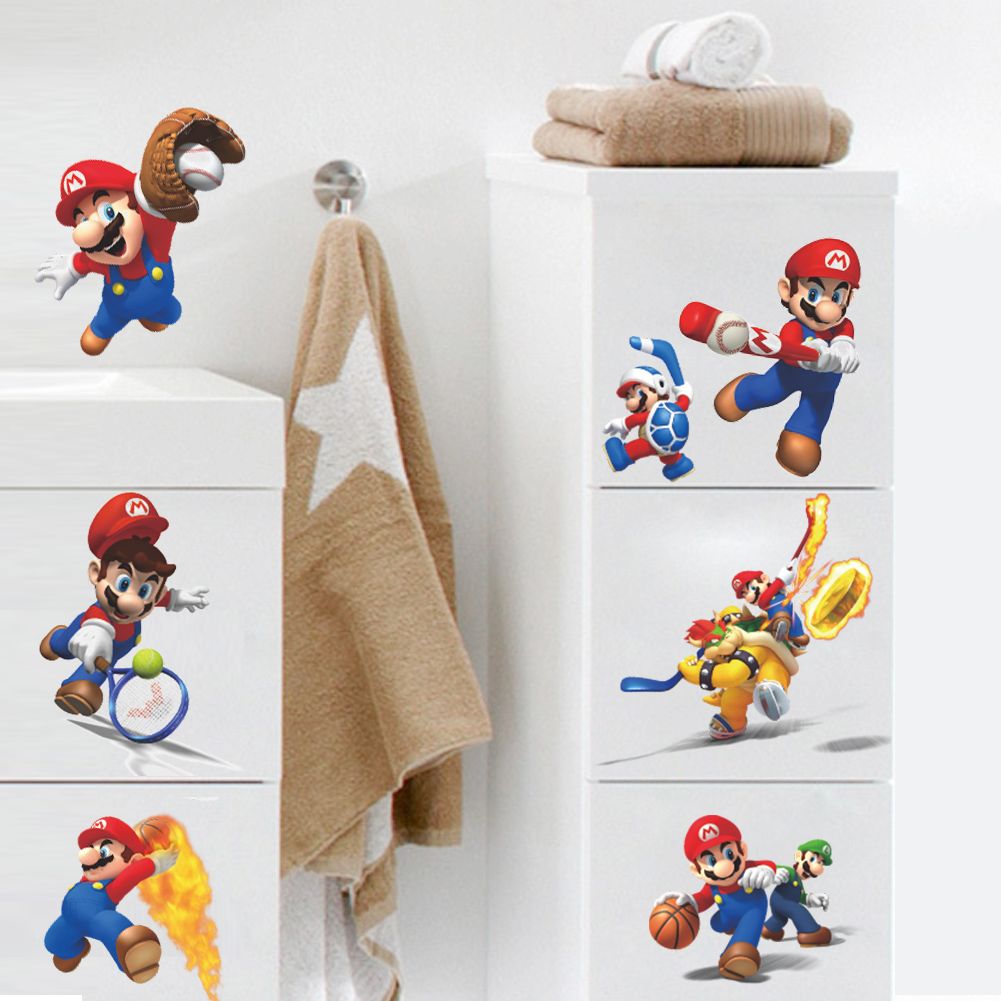 Mario Bros Muurstickers.Cartoon Super Mario Bros In Art Vinyl Muurstickers Decoratie