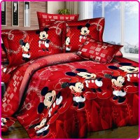 Red Mickey and Minnie Mouse King Queen Twin Cartoon 4PCS ...