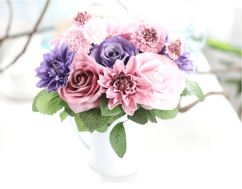 ᗖArtificial Silk Flower Bouquet Dahlia Wedding Rose Bouquet Wedding ...