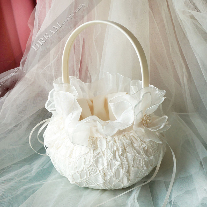 White Wedding /& Event Flowergirl Basket Butterfly Themed Design
