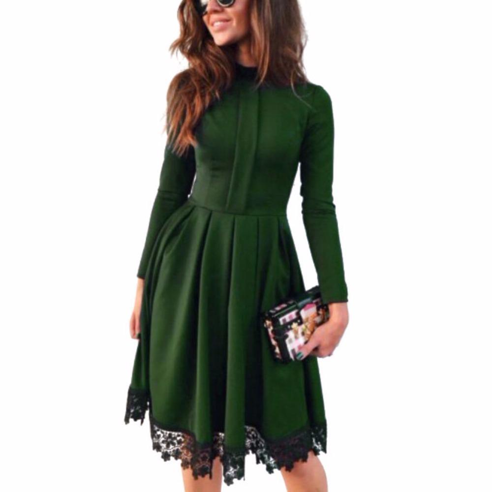 2018 плюс Размеры Лидер продаж Для женщин пикантные с длинным рукавом  осень-зима Новая мода Тонкий Макси платья Зеленый Платья для вечеринок . e80f6b282e2