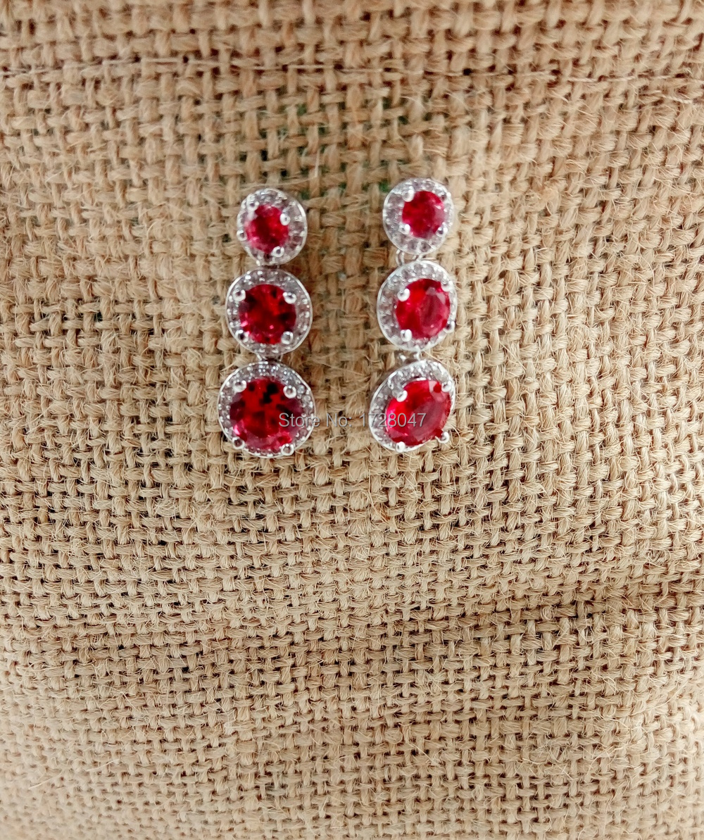cc4a618ca 2017 Brand New Fashion Designer white White Gold color Earring Garnet  Zircon Crystal stud Earings for Women Free Shipping