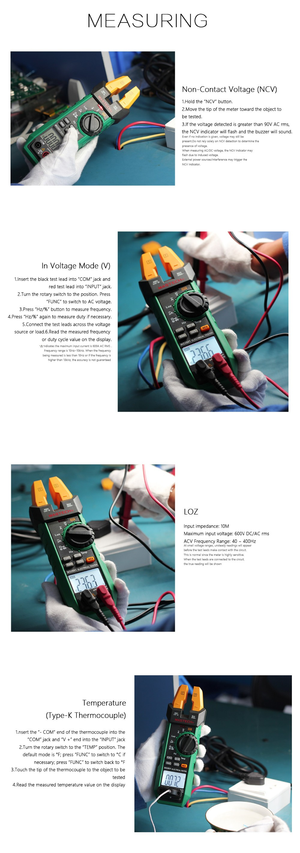 Ms2601 Digital Ac Dc Fork Meter Clamp With Frequency Duty Switch Wizard 3way Electrical Wiring Tester Cycle Temperature