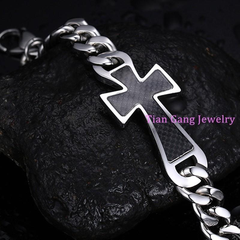 29493a17f9e4 ②Nuevo encanto de plata 316L Cruz del acero inoxidable negro cadena ...