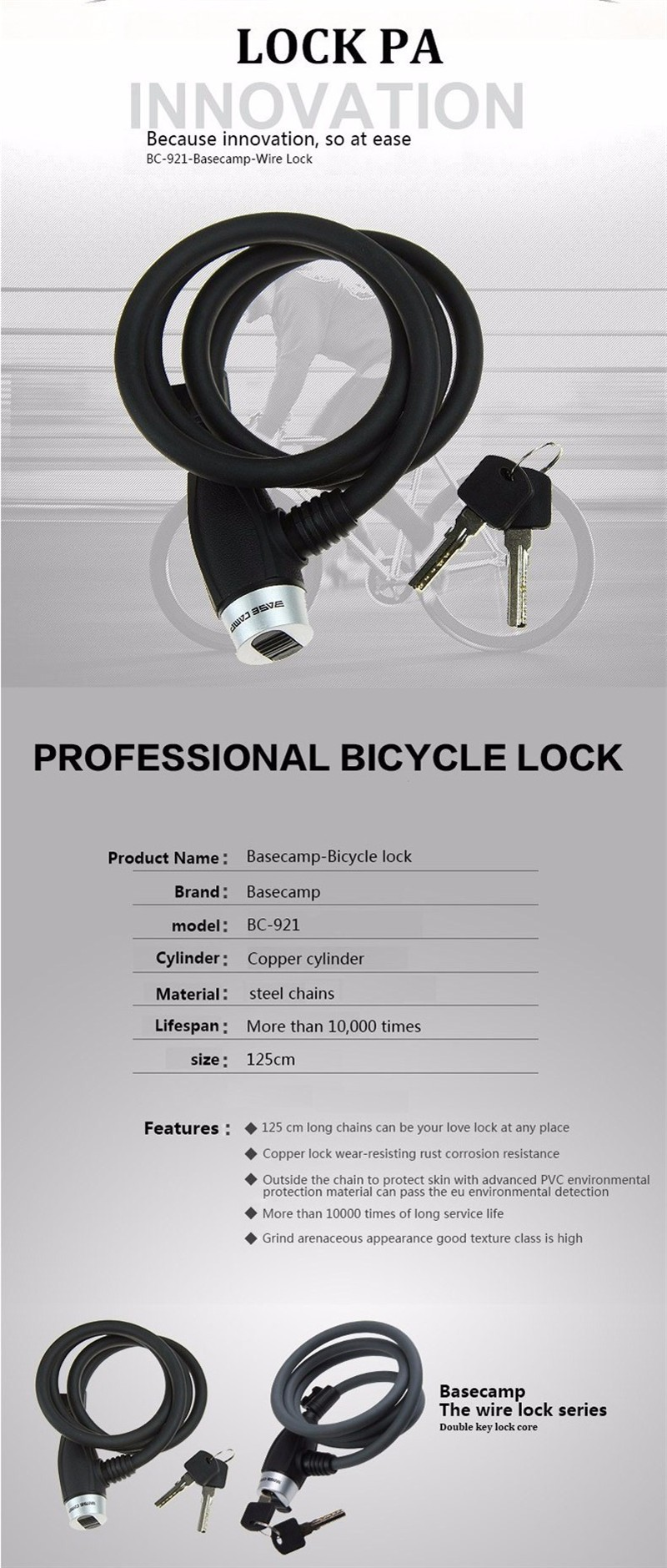 இNew Bike Lock 4 Digit Code Bicycle Security Key Locks Anti-Theft ...