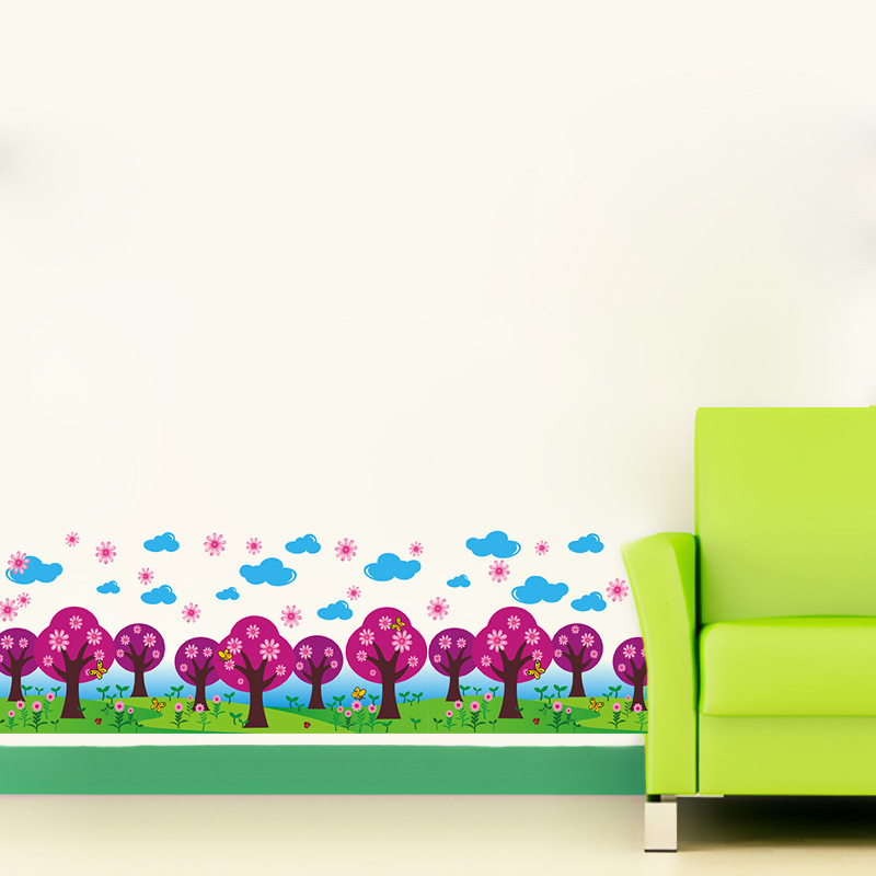 Colorful Tree Flowers Fence Wall Border Decal Sticker Kids