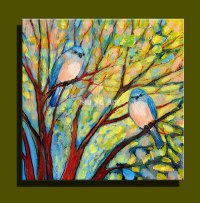 Abstract modern canvas wall hand painted Couple love Birds ...