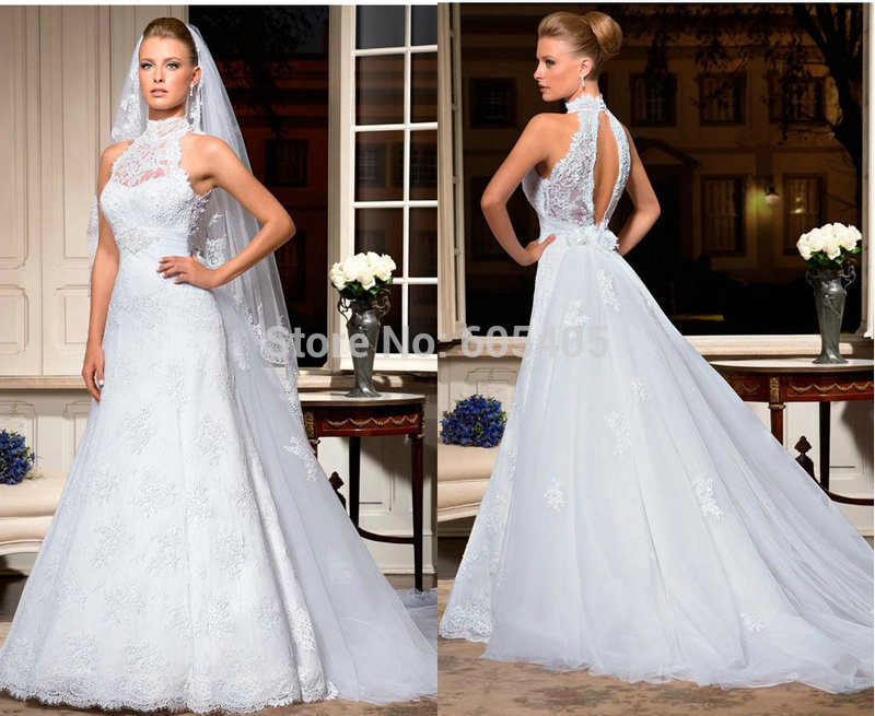 Discount-New-Designer-High-Neck-Luxury-Bridal-Gown-Lace